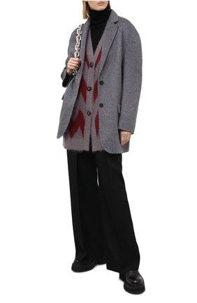 Женский шерстяной кардиган GIORGIO ARMANI красного цвета, арт. 6HAE02/AM27Z | Фото 2 (Материал внешний: Шерсть, Синтетический материал; Рукава: Длинные; Женское Кросс-КТ: кардиган-трикотаж; Длина (для топов): Удлиненные)