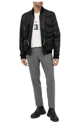 Мужской кожаный бомбер DOLCE & GABBANA черного цвета, арт. G9TX0L/HULKJ | Фото 2