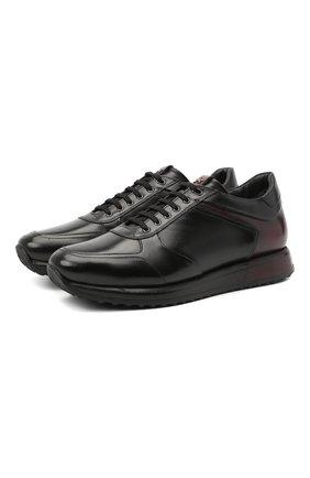Мужские кожаные кроссовки W.GIBBS черного цвета, арт. 8491001/1791 | Фото 1
