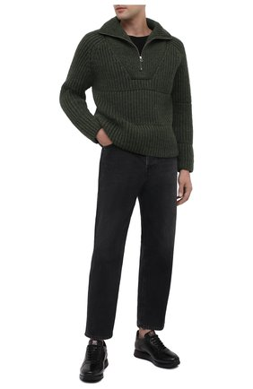 Мужские кожаные кроссовки W.GIBBS черного цвета, арт. 8491001/1791 | Фото 2