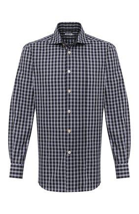 Мужская хлопковая рубашка KITON черно-белого цвета, арт. UCIH0743557 | Фото 1