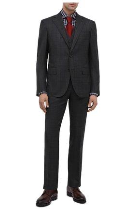 Мужская хлопковая рубашка KITON черно-белого цвета, арт. UCIH0743557 | Фото 2