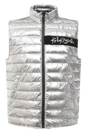 Мужской утепленный жилет PALM ANGELS серебряного цвета, арт. PMED011F20FAB0017201 | Фото 1