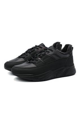 Мужские кожаные кроссовки DOUCAL'S черного цвета, арт. DU2710JUSTPM451NN05   Фото 1