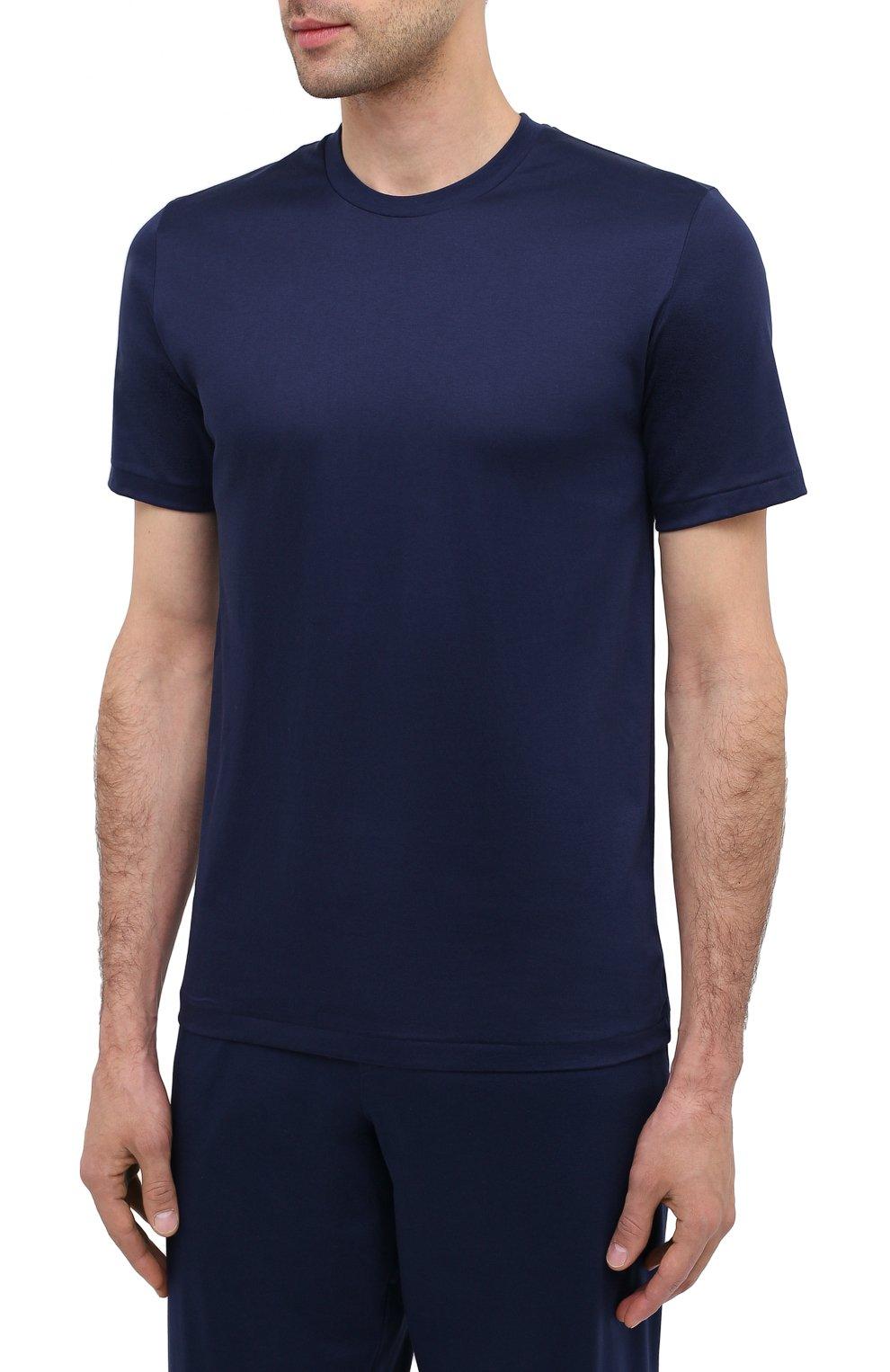 Мужская хлопковая футболка ZIMMERLI темно-синего цвета, арт. 286-1447   Фото 3 (Кросс-КТ: домашняя одежда; Рукава: Короткие; Длина (для топов): Стандартные; Материал внешний: Хлопок; Мужское Кросс-КТ: Футболка-белье)