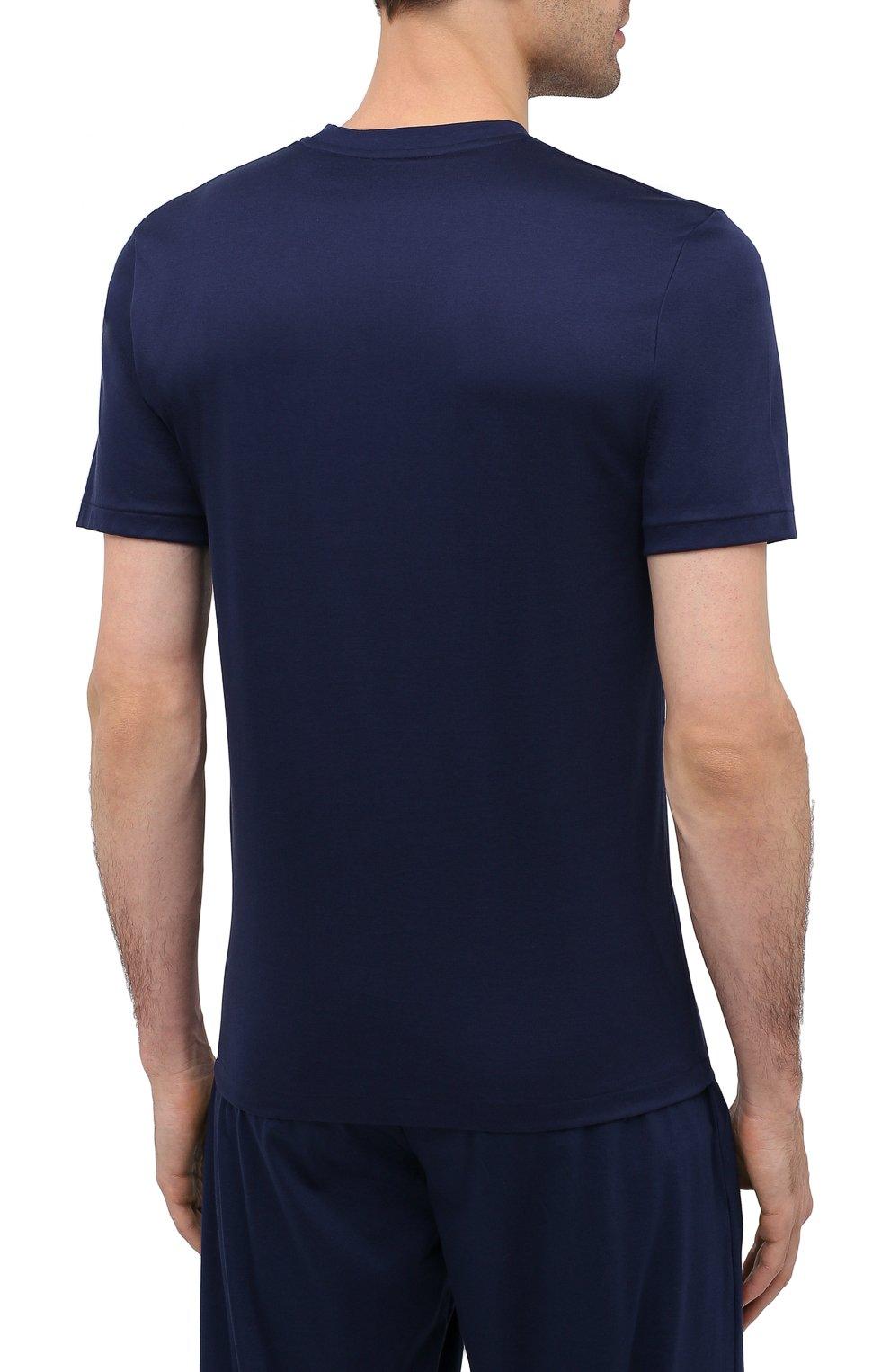 Мужская хлопковая футболка ZIMMERLI темно-синего цвета, арт. 286-1447   Фото 4 (Кросс-КТ: домашняя одежда; Рукава: Короткие; Длина (для топов): Стандартные; Материал внешний: Хлопок; Мужское Кросс-КТ: Футболка-белье)