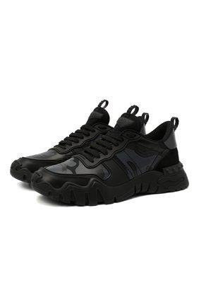 Мужские комбинированные кроссовки valentino garavani rockrunner plus VALENTINO черного цвета, арт. UY0S0C88/MHB | Фото 1