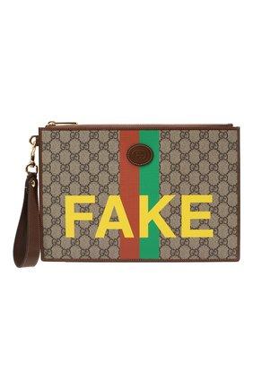 Мужская клатч «fake/not» GUCCI коричневого цвета, арт. 636171/2GCAG   Фото 1