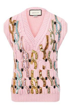 Женский шерстяной жилет GUCCI розового цвета, арт. 622149/XKBCI   Фото 1