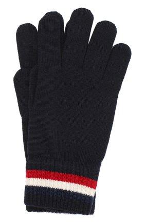 Мужские шерстяные перчатки MONCLER темно-синего цвета, арт. F2-091-3A701-00-A9575 | Фото 1