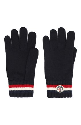 Мужские шерстяные перчатки MONCLER темно-синего цвета, арт. F2-091-3A701-00-A9575 | Фото 2