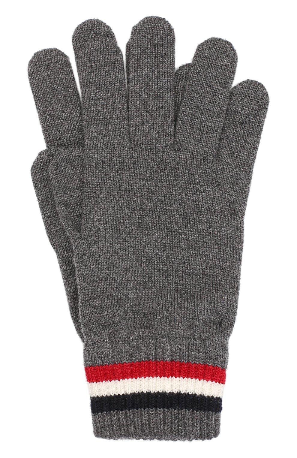 Мужские шерстяные перчатки MONCLER серого цвета, арт. F2-091-3A701-00-A9575 | Фото 1