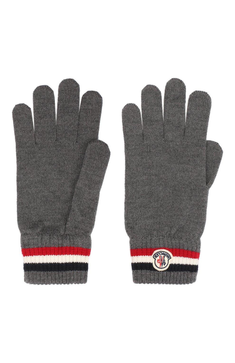 Мужские шерстяные перчатки MONCLER серого цвета, арт. F2-091-3A701-00-A9575 | Фото 2