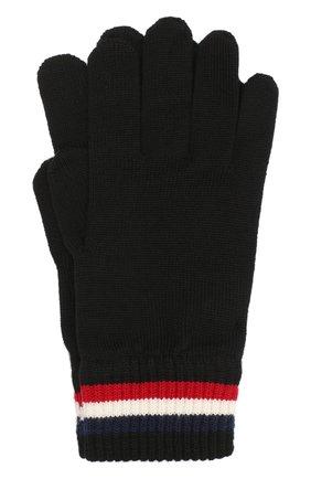 Мужские шерстяные перчатки MONCLER черного цвета, арт. F2-091-3A701-00-A9575 | Фото 1