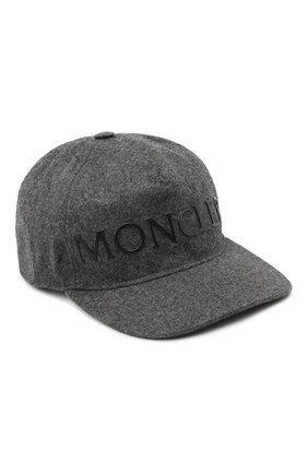 Мужской шерстяная бейсболка MONCLER серого цвета, арт. F2-091-3B720-00-54233 | Фото 1