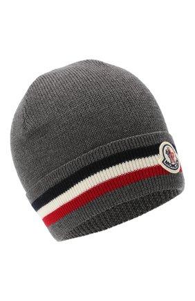 Мужская шерстяная шапка MONCLER серого цвета, арт. F2-091-3B749-00-A9575 | Фото 1