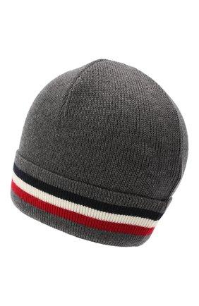 Мужская шерстяная шапка MONCLER серого цвета, арт. F2-091-3B749-00-A9575 | Фото 2