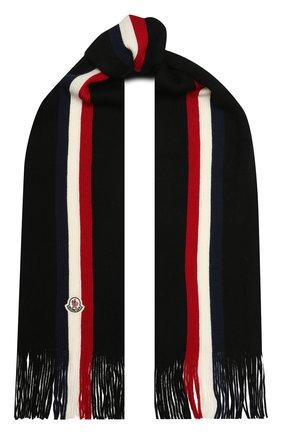 Мужской шерстяной шарф MONCLER черного цвета, арт. F2-091-3C711-00-A9575 | Фото 1