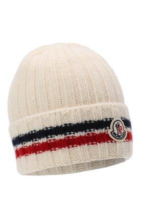 Мужская шерстяная шапка MONCLER белого цвета, арт. F2-091-9Z742-00-A9536 | Фото 1