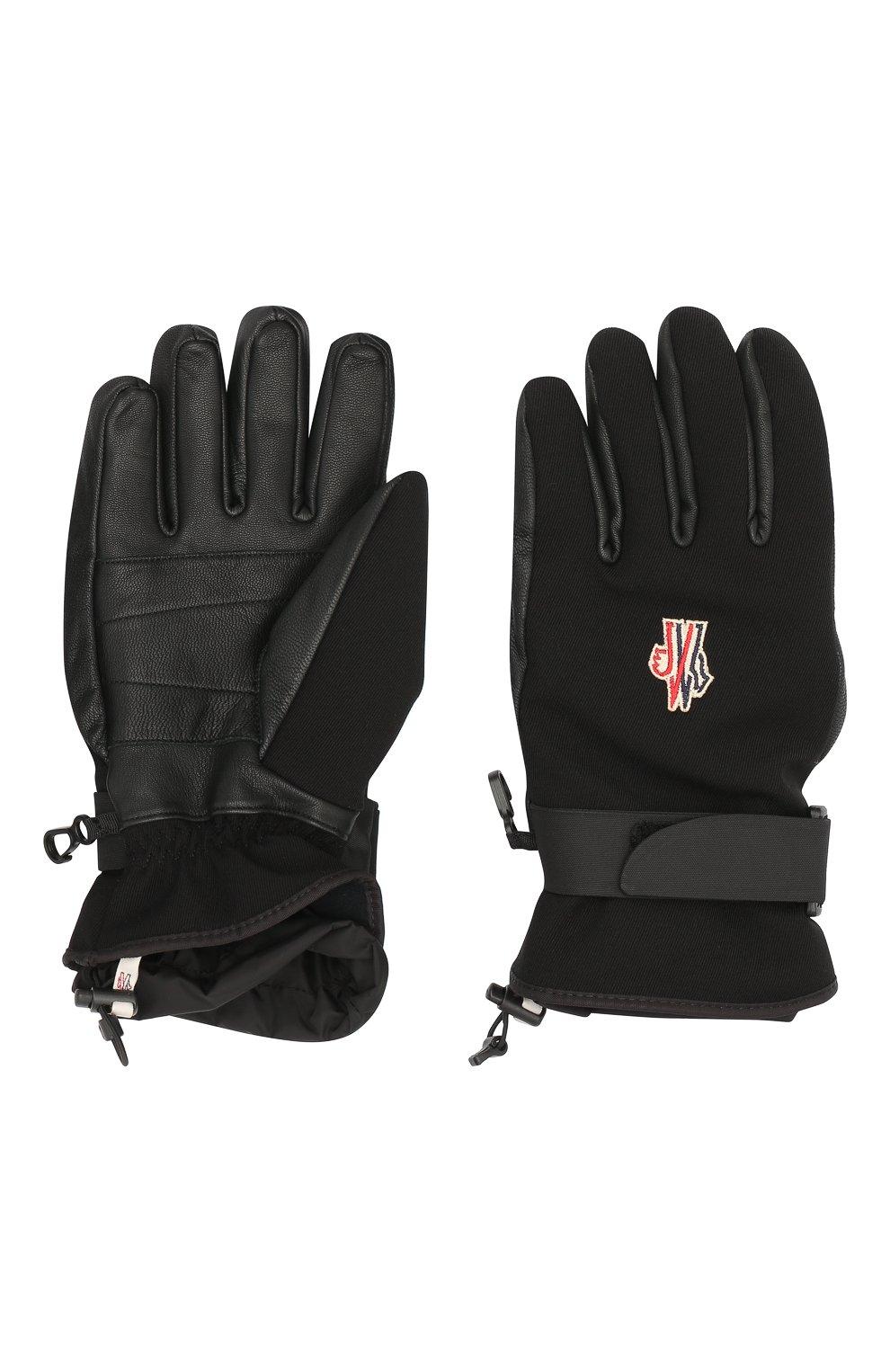 Мужские комбинированные перчатки MONCLER GRENOBLE черного цвета, арт. F2-097-3A600-00-53063   Фото 2