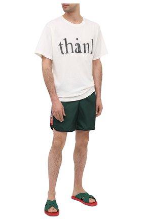 Мужские резиновые шлепанцы GUCCI зеленого цвета, арт. 634082/JER00 | Фото 2