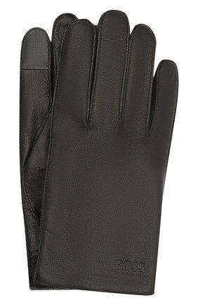 Мужские кожаные перчатки BOSS черного цвета, арт. 50436432 | Фото 1