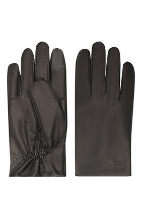 Мужские кожаные перчатки BOSS черного цвета, арт. 50436432 | Фото 2
