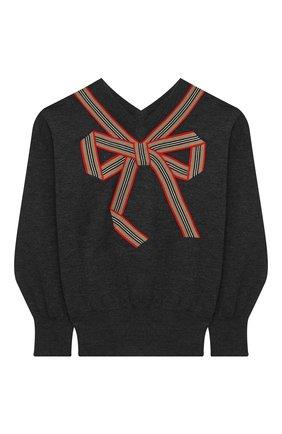 Детский шерстяной пуловер BURBERRY серого цвета, арт. 8033056 | Фото 1
