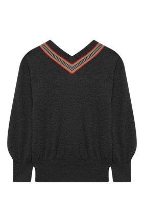 Детский шерстяной пуловер BURBERRY серого цвета, арт. 8033056 | Фото 2