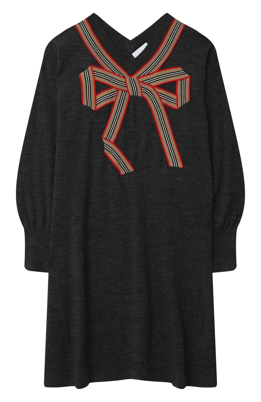 Детское шерстяное платье BURBERRY серого цвета, арт. 8033057 | Фото 1 (Материал внешний: Шерсть; Рукава: Длинные; Случай: Повседневный)