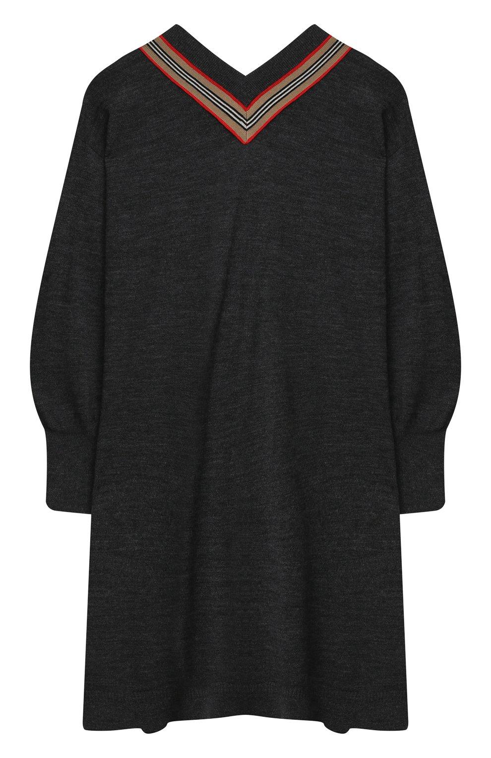 Детское шерстяное платье BURBERRY серого цвета, арт. 8033057 | Фото 2 (Материал внешний: Шерсть; Рукава: Длинные; Случай: Повседневный)