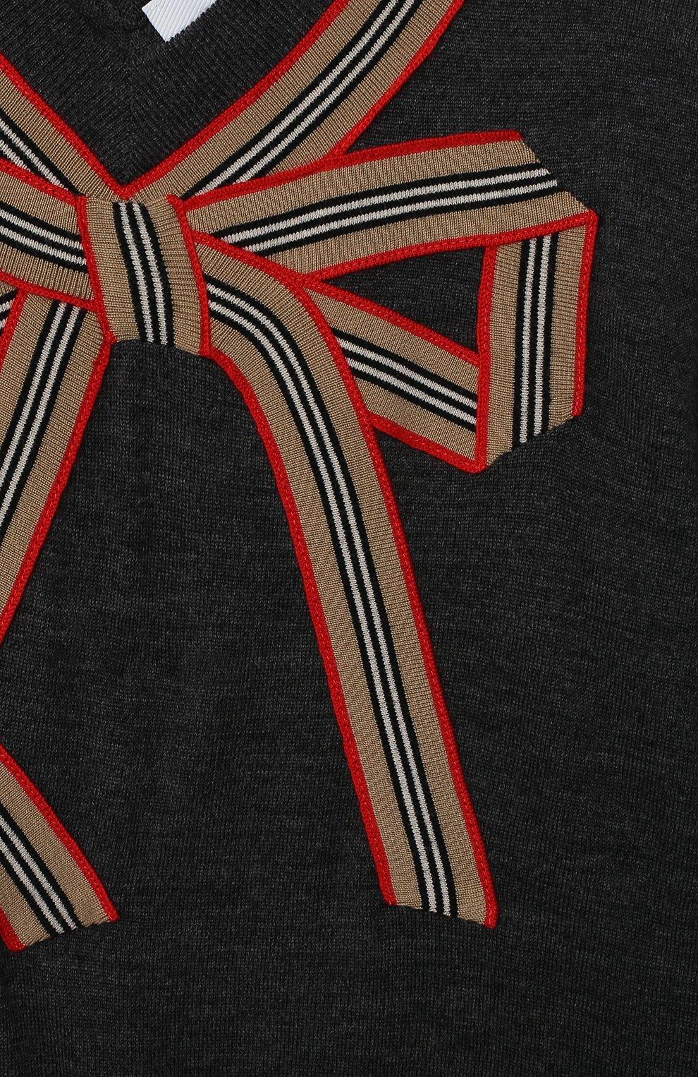 Детское шерстяное платье BURBERRY серого цвета, арт. 8033057 | Фото 3 (Материал внешний: Шерсть; Рукава: Длинные; Случай: Повседневный)