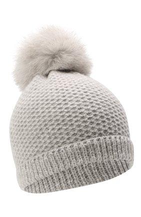 Детского кашемировая шапка GIORGETTI CASHMERE светло-серого цвета, арт. MB1695/V0LPE/8A | Фото 1 (Материал: Кашемир, Шерсть)