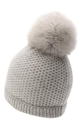Детского кашемировая шапка GIORGETTI CASHMERE светло-серого цвета, арт. MB1695/V0LPE/8A | Фото 2 (Материал: Кашемир, Шерсть)