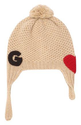 Детского шерстяная шапка DOLCE & GABBANA бежевого цвета, арт. LNKH30/JAM5Z | Фото 1
