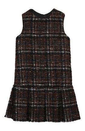 Детское твидовое платье DOLCE & GABBANA коричневого цвета, арт. L52D00/FQMHD/2-6 | Фото 1