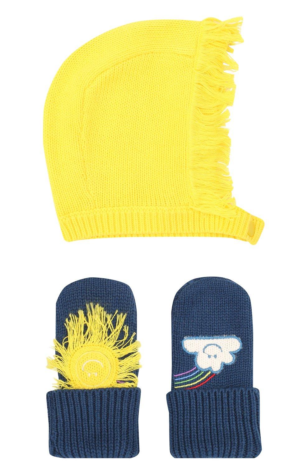 Детский комплект из шапки и варежек STELLA MCCARTNEY темно-синего цвета, арт. 601490/SPM27   Фото 1 (Материал: Текстиль, Хлопок)