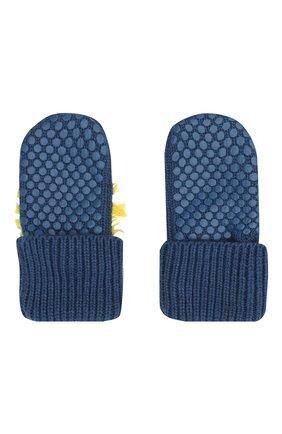 Детский комплект из шапки и варежек STELLA MCCARTNEY темно-синего цвета, арт. 601490/SPM27   Фото 5 (Материал: Текстиль, Хлопок)