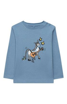 Детский хлопковый лонгслив STELLA MCCARTNEY синего цвета, арт. 601020/SPJ22 | Фото 1