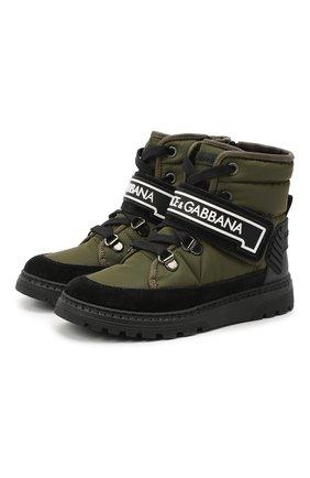 Детские ботинки DOLCE & GABBANA хаки цвета, арт. DA0923/A4278/29-36 | Фото 1