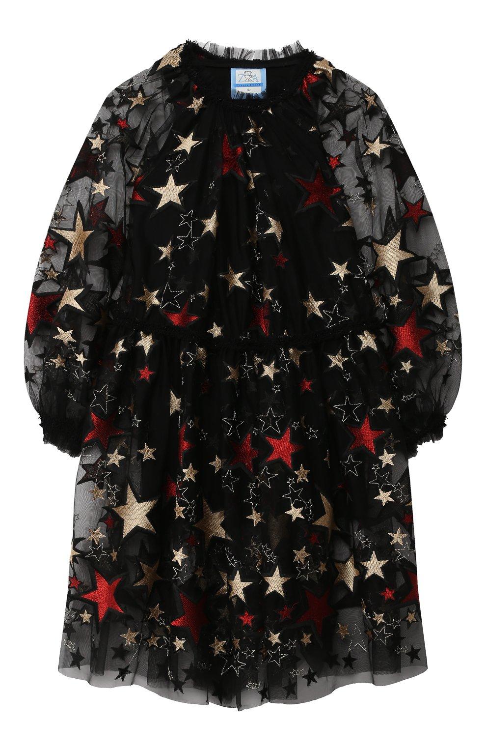 Детское платье ZHANNA & ANNA черного цвета, арт. ZAG021909Black_1 | Фото 1 (Рукава: Длинные; Случай: Повседневный)