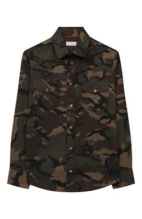 Детская хлопковая рубашка BRUNELLO CUCINELLI хаки цвета, арт. BE248C360C   Фото 1 (Материал внешний: Хлопок; Рукава: Длинные; Случай: Повседневный; Ростовка одежда: 12 лет   152 см)