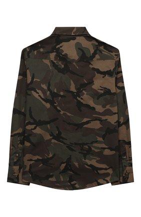 Детская хлопковая рубашка BRUNELLO CUCINELLI хаки цвета, арт. BE248C360C   Фото 2 (Материал внешний: Хлопок; Рукава: Длинные; Случай: Повседневный; Ростовка одежда: 12 лет   152 см)