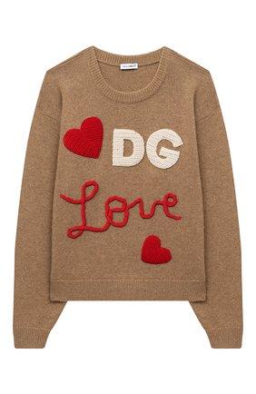 Детский шерстяной пуловер DOLCE & GABBANA темно-коричневого цвета, арт. L5KWA5/JAM9Y/2-6 | Фото 1