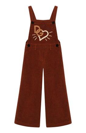 Детский хлопковый комбинезон DOLCE & GABBANA коричневого цвета, арт. L52P88/FUWDB/8-14 | Фото 1