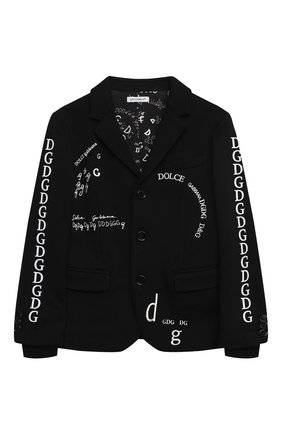 Детский хлопковый пиджак DOLCE & GABBANA черного цвета, арт. L4JE25/G7XCJ/2-6 | Фото 1 (Материал внешний: Хлопок; Рукава: Длинные; Материал подклада: Хлопок; Кросс-КТ: пиджак; Ростовка одежда: 2 года | 92 см, 3 года | 98 см, 4 года | 104 см, 5 лет | 110 см, 6 лет | 116 см)