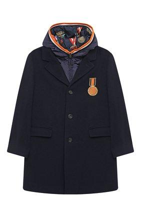 Детское шерстяное пальто DOLCE & GABBANA темно-синего цвета, арт. L41C90/G7XBV/8-14 | Фото 1