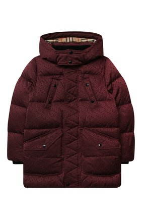 Детского пуховая куртка BURBERRY бордового цвета, арт. 8032814 | Фото 1