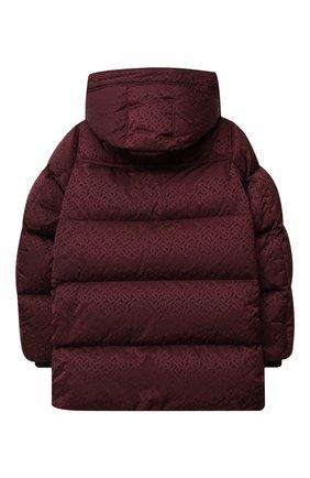 Детского пуховая куртка BURBERRY бордового цвета, арт. 8032814 | Фото 2