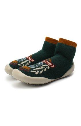 Детского домашние туфли COLLEGIEN зеленого цвета, арт. 551C/18-35 | Фото 1 (Материал внутренний: Текстиль; Материал внешний: Текстиль; Кросс-КТ: носочки)
